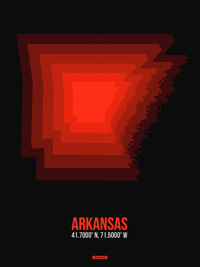 Arkansas Map Digital Art - Map Of Arkansas Red by Naxart Studio