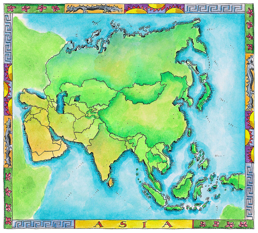 Map Of Asia Digital Art by Jennifer Thermes