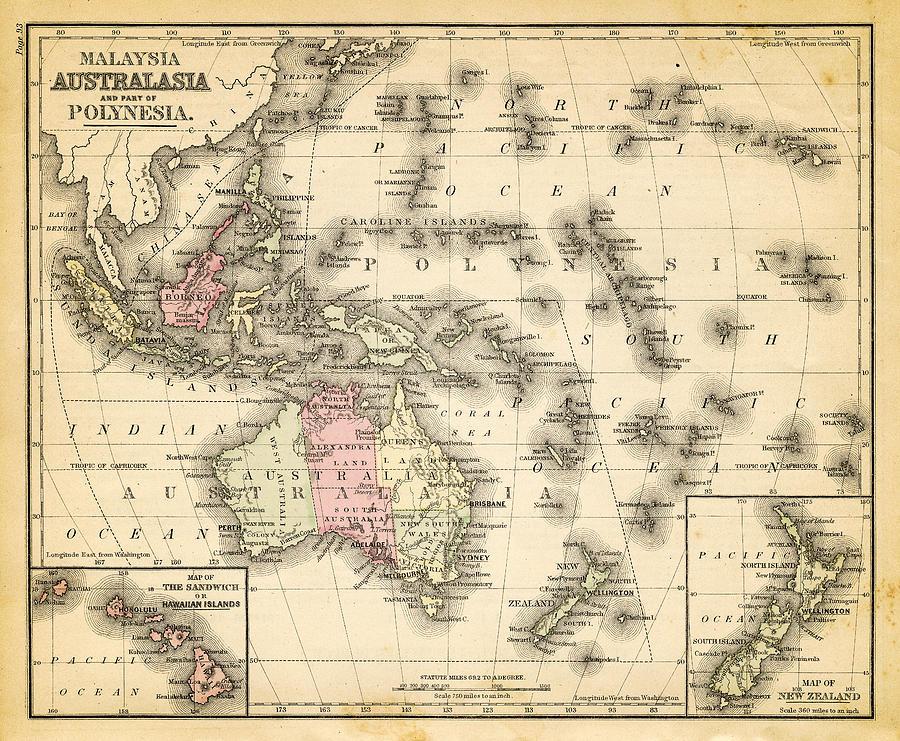 Map Of Australia, Malaysia And Polynesia Digital Art by Thepalmer