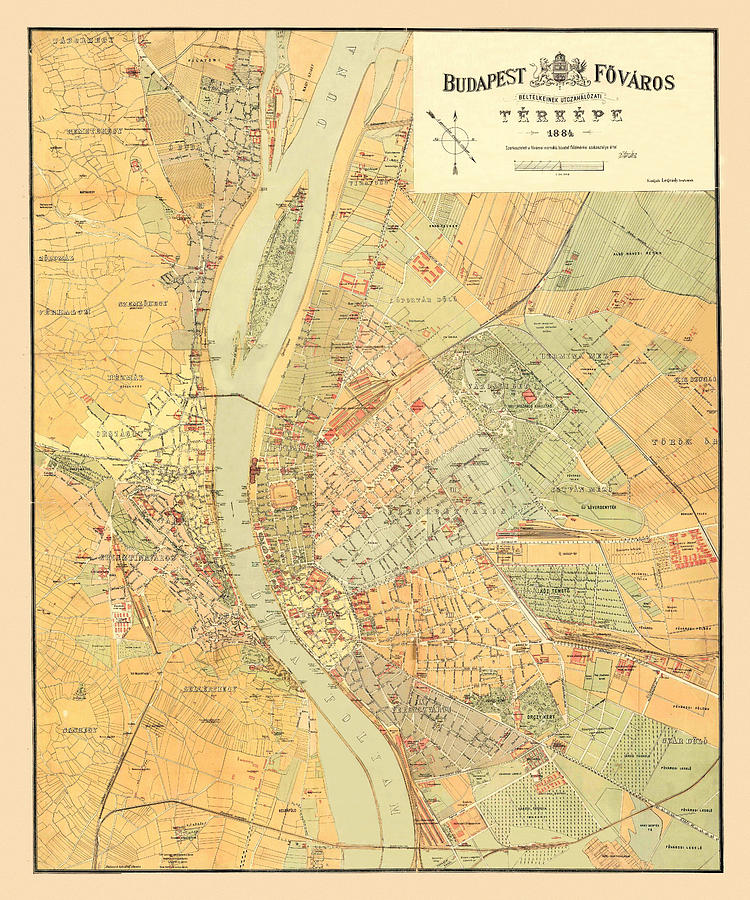 Map Of Budapest 1884 by Andrew Fare