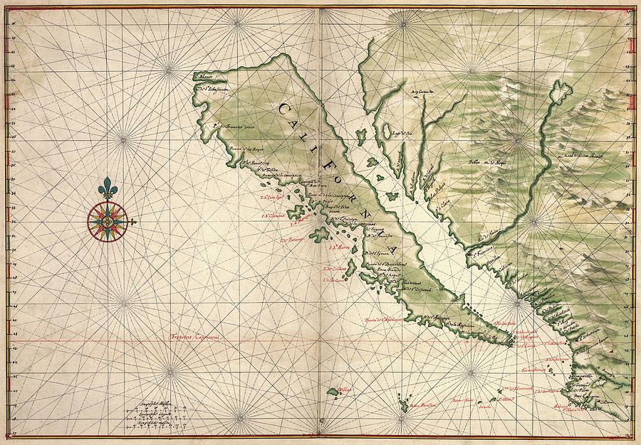 Map of California as an Island unto itself by Joan Vinckeboons c. 1650 by Daniel Hagerman