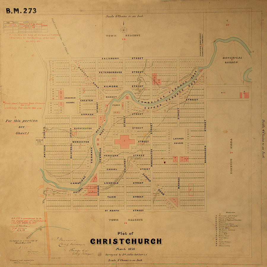 Map Of Christchurch 1850 Photograph by Andrew Fare