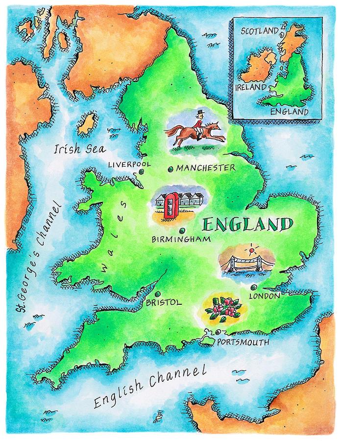 Map Of England Digital Art by Jennifer Thermes