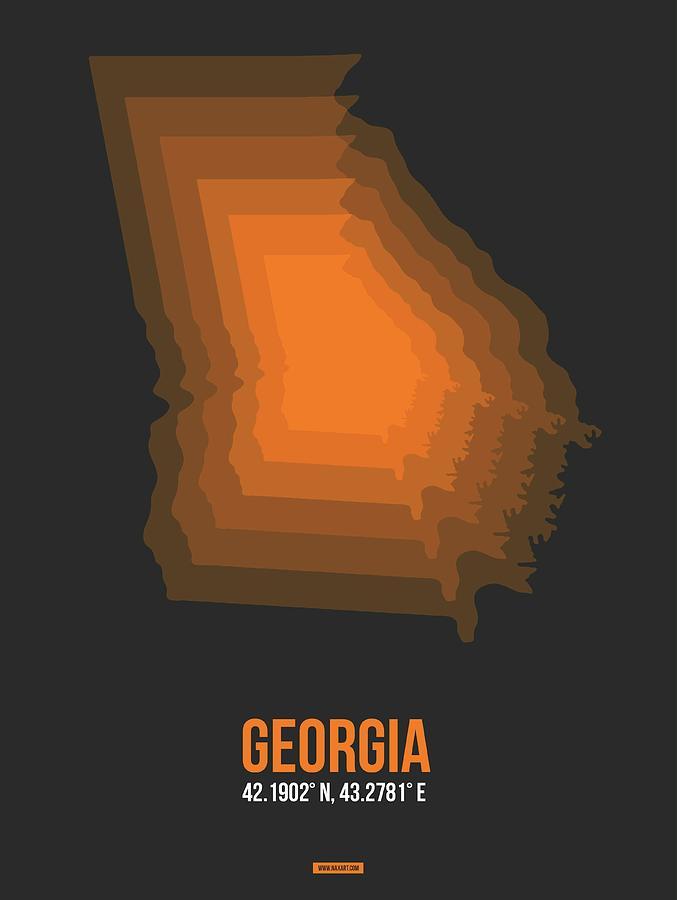 Georgia Map Digital Art - Map Of Georgia 4 by Naxart Studio