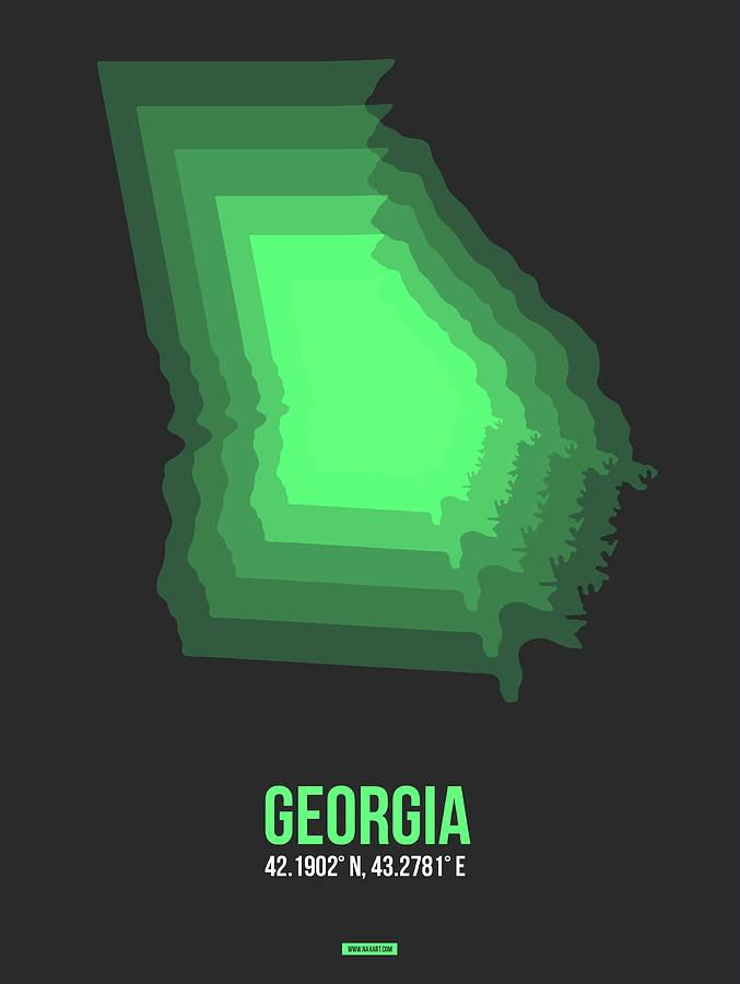 Georgia Map Digital Art - Map Of Gergia by Naxart Studio