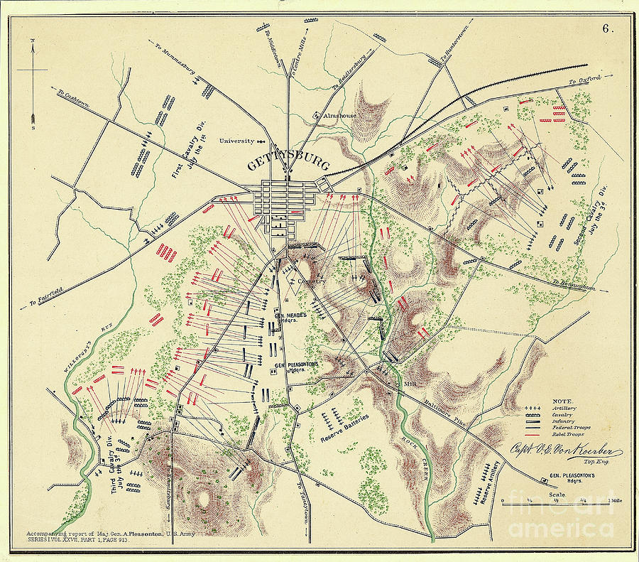 Map Of Gettysburg With Troop Positions Photograph by Bettmann