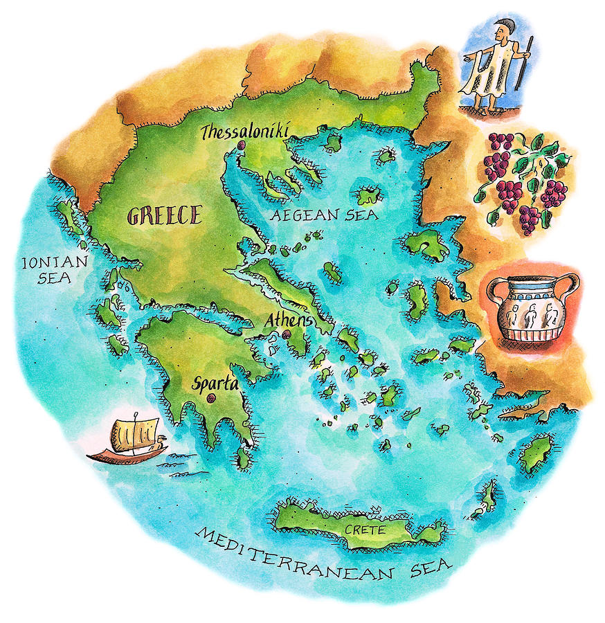 Map Of Greece & Greek Isles Digital Art by Jennifer Thermes