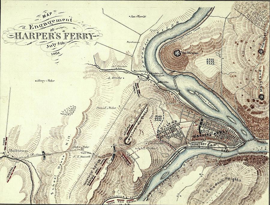 Map of Harper's Ferry, West Virginia in 1864,  by Steve Estvanik