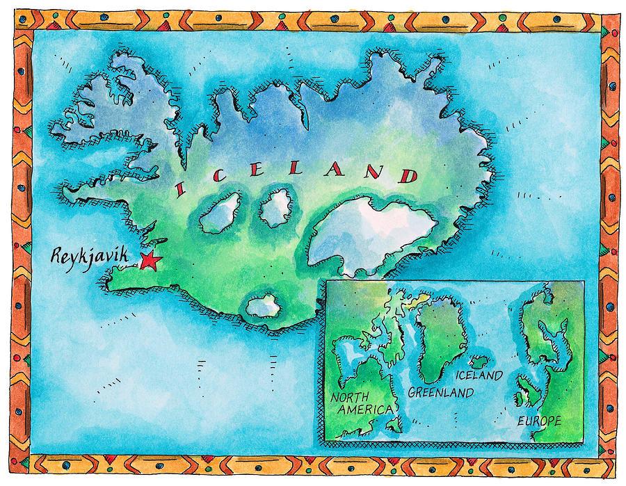 Map Of Iceland Digital Art by Jennifer Thermes