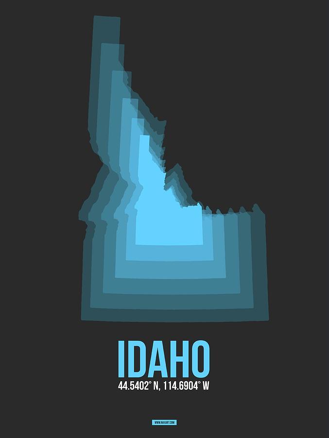 Idaho Digital Art - Map of Idaho Blue by Naxart Studio