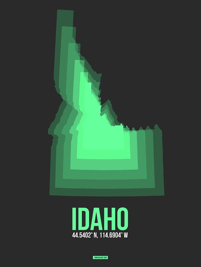 Idaho Digital Art - Map of Idaho Green by Naxart Studio
