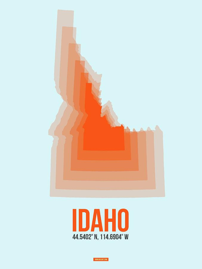 Idaho Digital Art - Map of Idaho by Naxart Studio