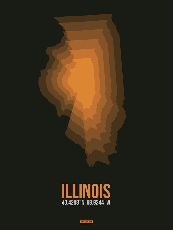 Illinois Digital Art - Map of Illinois, Orange by Naxart Studio