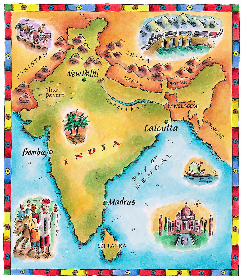 Map Of India Digital Art by Jennifer Thermes