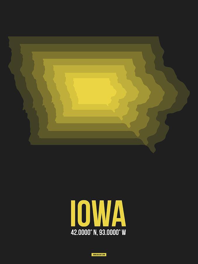 Iowa Digital Art - Map Of Iowa by Naxart Studio