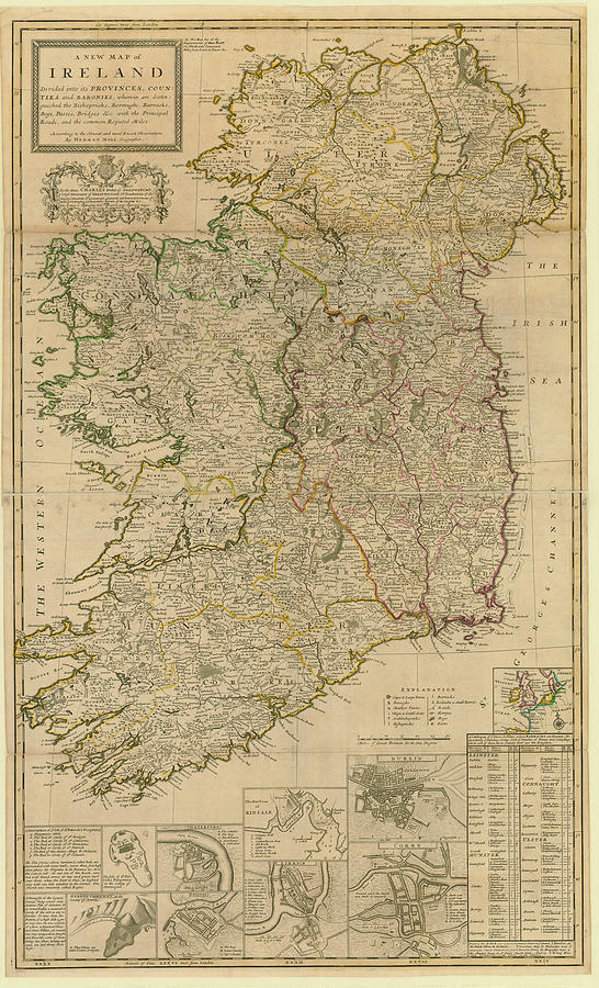 Map Of Ireland From 1714 Digital Art by Historic Map Works Llc