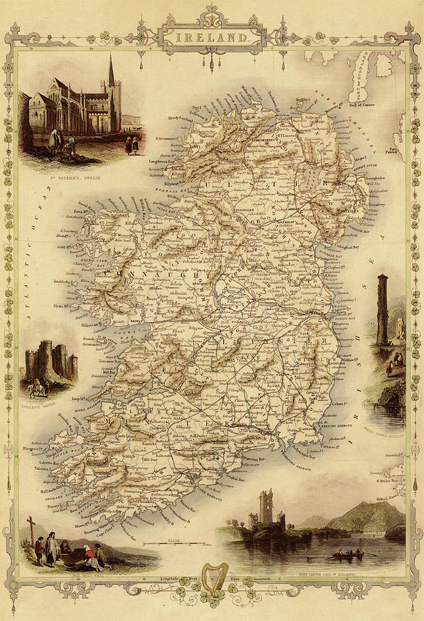Map Of Ireland From 1851 Digital Art by Nicoolay