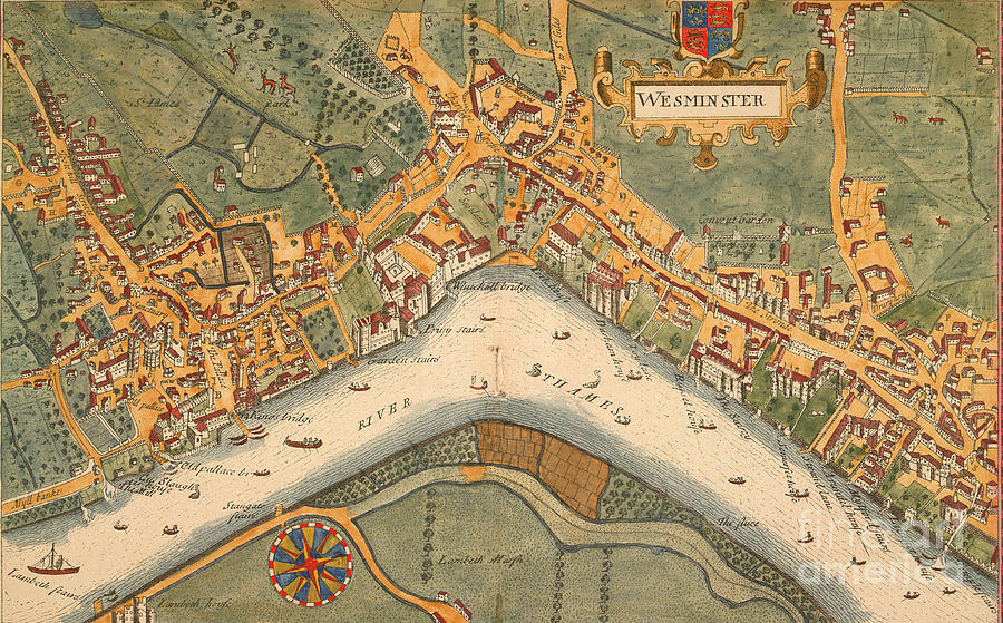 London 1600 Map.Map Of London Westminster