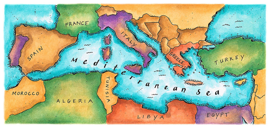Map Of Mediterranean Sea Digital Art by Jennifer Thermes