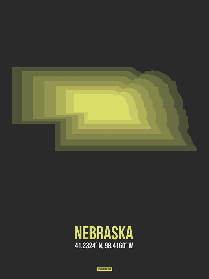Nebraska Digital Art - Map Of Nebraska 2 by Naxart Studio