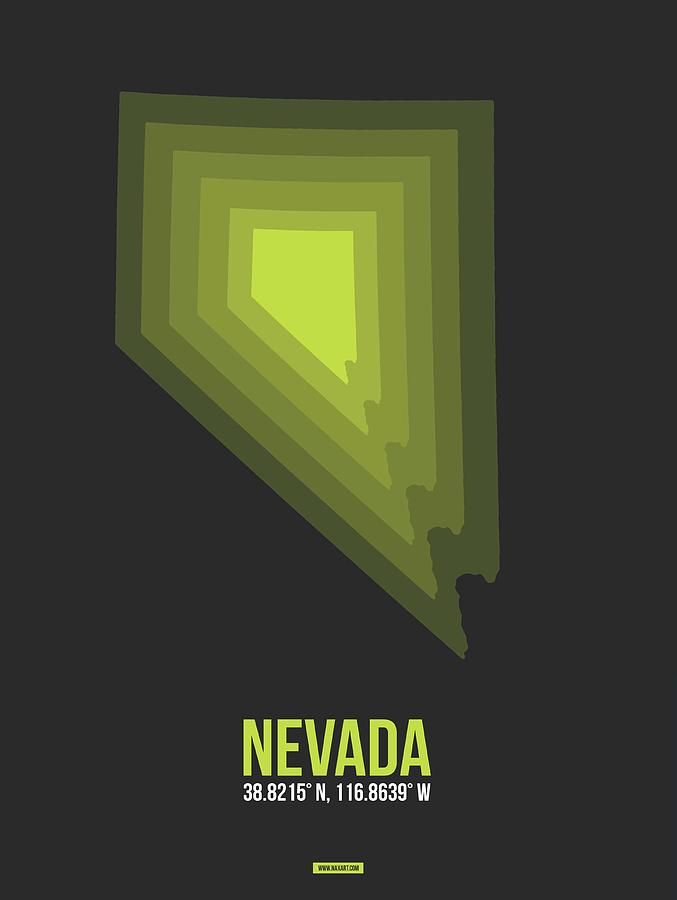 Nevada Digital Art - Map of Nevada by Naxart Studio