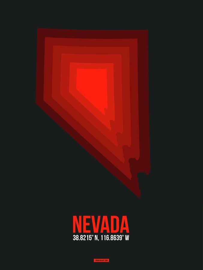 Nevada Digital Art - Map of Nevada Red by Naxart Studio