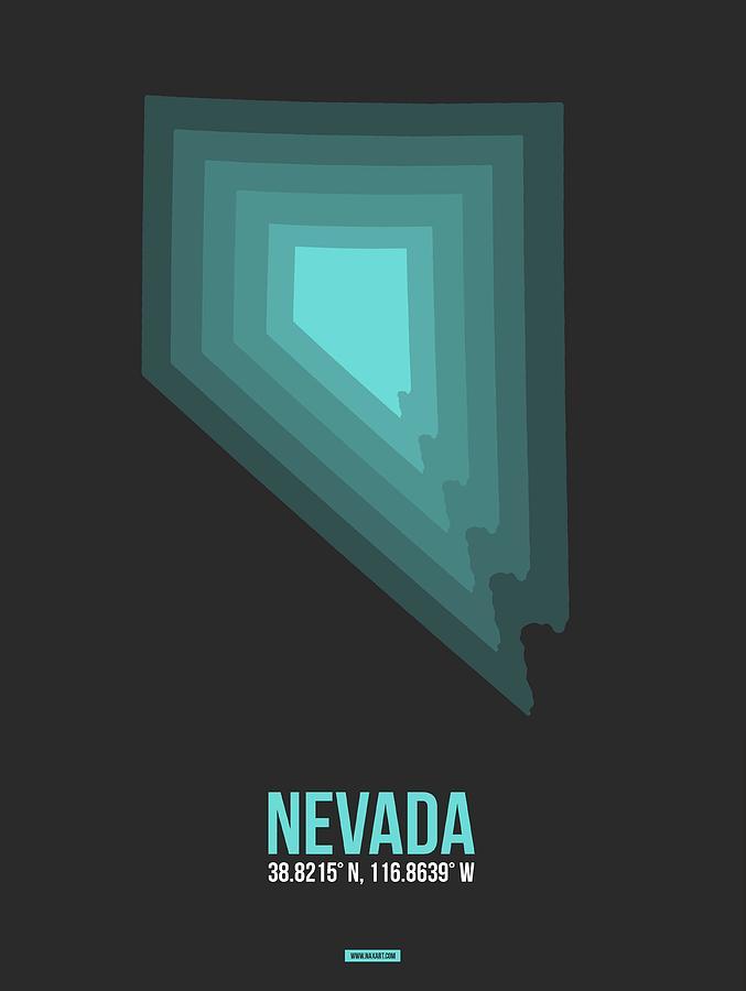 Nevada Digital Art - Map of Nevada Teal by Naxart Studio