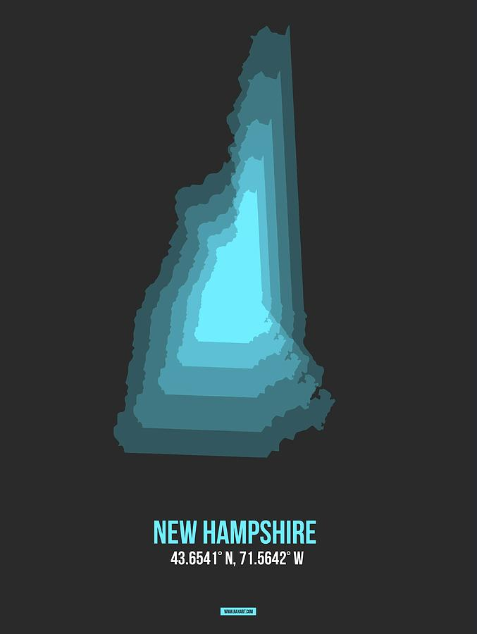 State Digital Art - Map Of New Hampshire by Naxart Studio