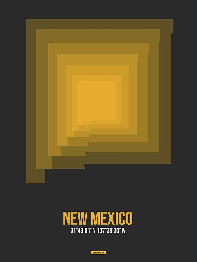New Mexico Map Digital Art - Map of New Mexico 1 by Naxart Studio