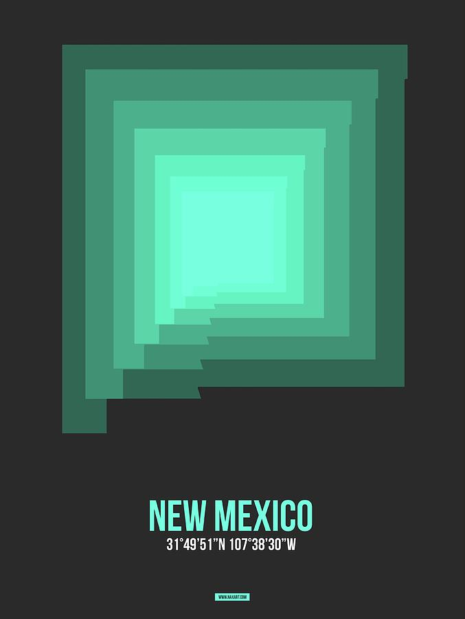 New Mexico Map Digital Art - Map Of New Mexico 3 by Naxart Studio
