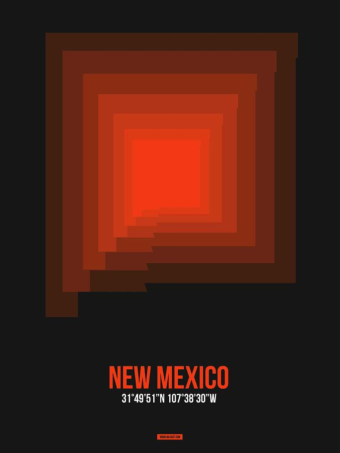 New Mexico Map Digital Art - Map of New Mexico 4 by Naxart Studio