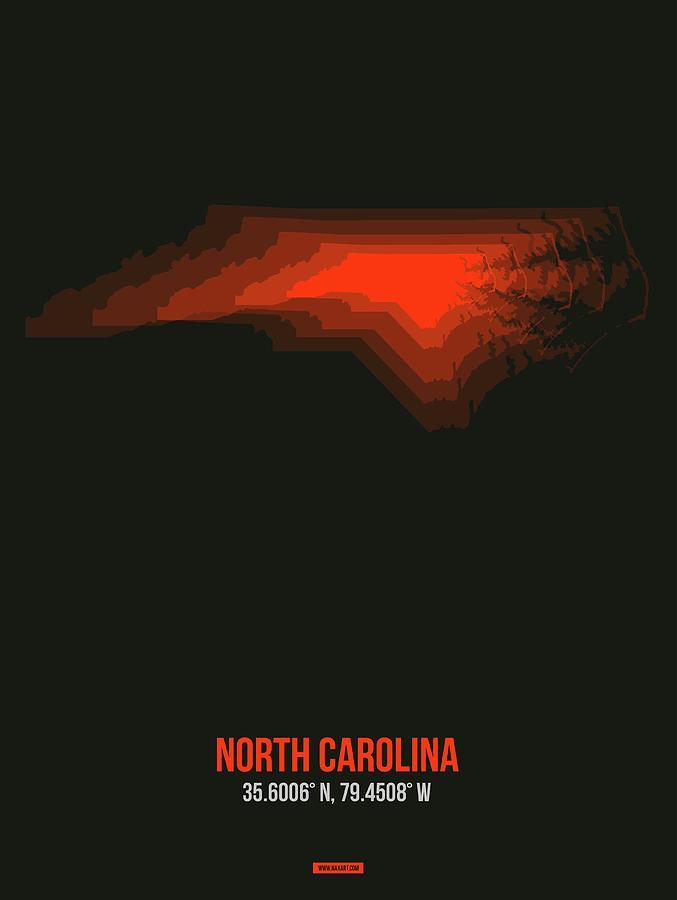Modernist Digital Art - Map Of North Carolina, Red by Naxart Studio