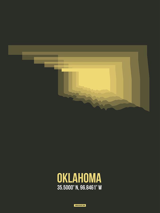 Oklahoma Digital Art - Map Of Oklahoma by Naxart Studio