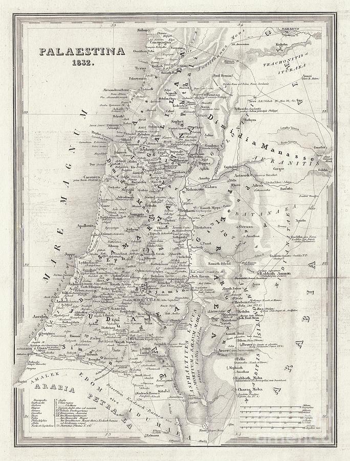 Map Of Palestine, Steel Engraving Digital Art by Zu 09