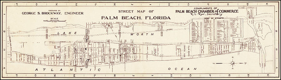 Map Of Palm Beach, Florida 1942 by Andrew Fare