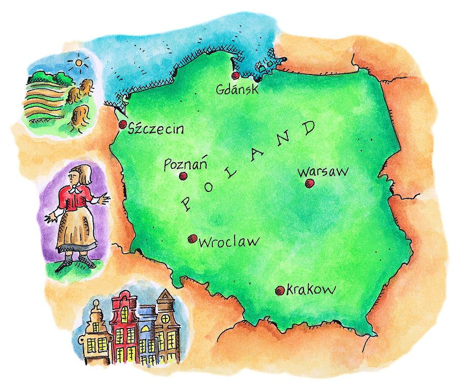 Map Of Poland Digital Art by Jennifer Thermes