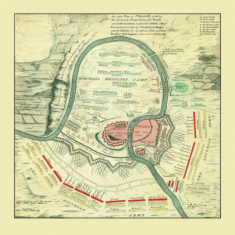 Map Of Prague 1742 by Andrew Fare