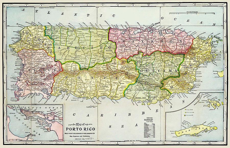 Map of Puerto Rico 1895 by Phil Cardamone