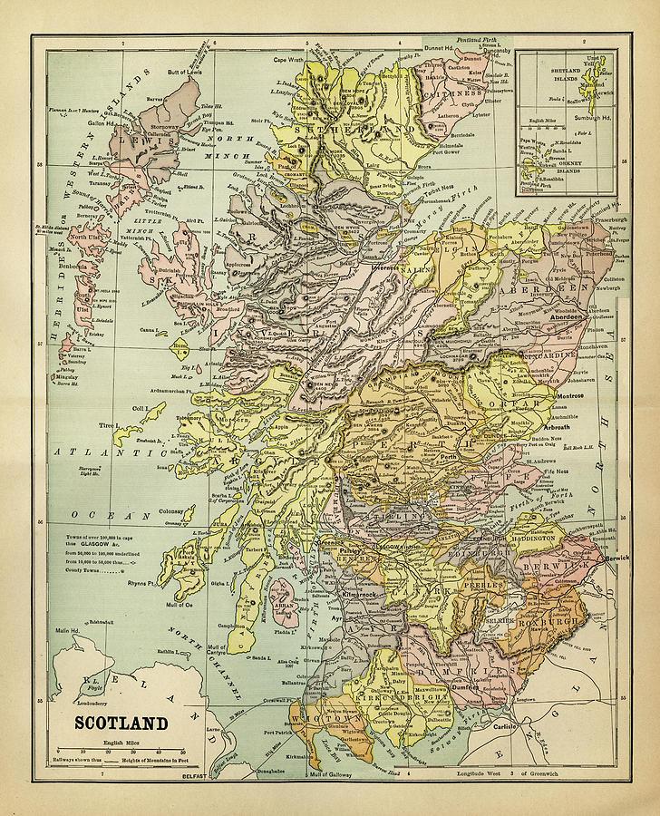 Vertical Digital Art - Map Of Scotland 1883 by Thepalmer