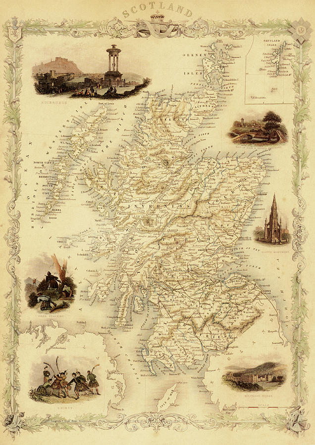 Map Of Scotland From 1851 Digital Art by Nicoolay
