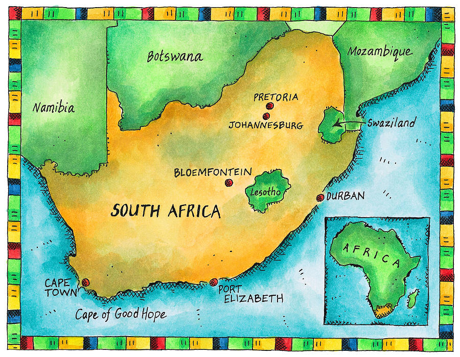 Map Of South Africa Digital Art by Jennifer Thermes