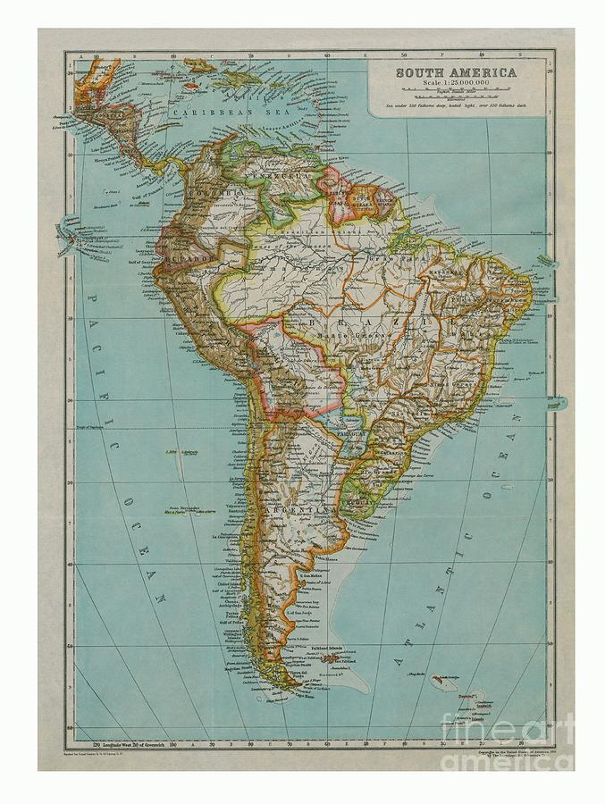 Map Of South America Drawing by Print Collector