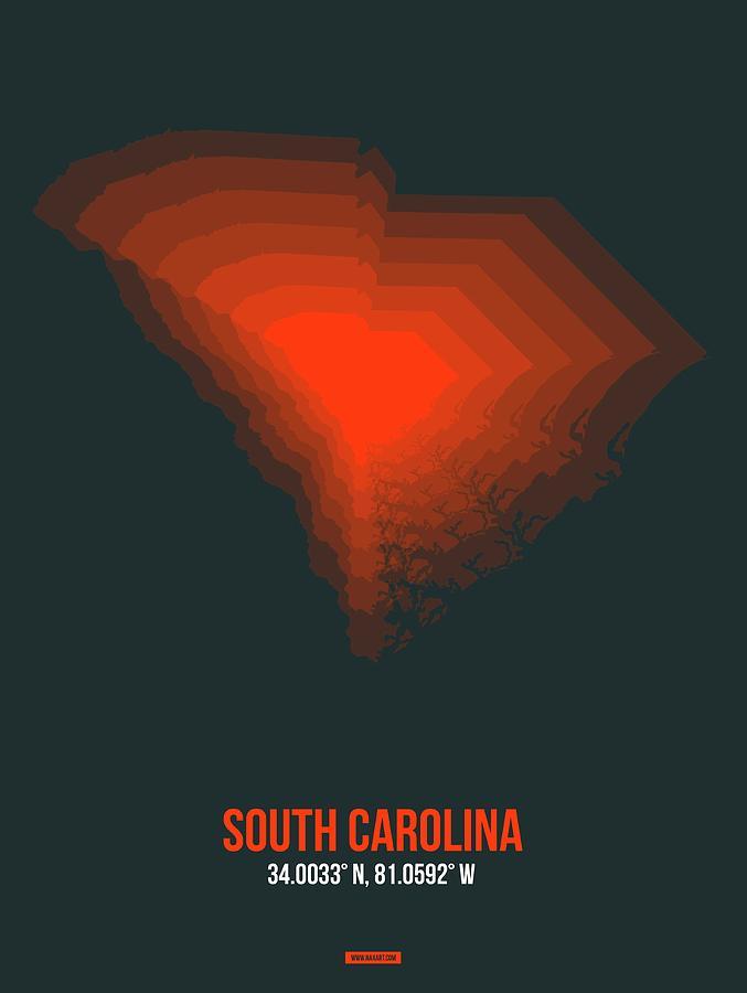 South Carolina Digital Art - Map Of South Carolina by Naxart Studio