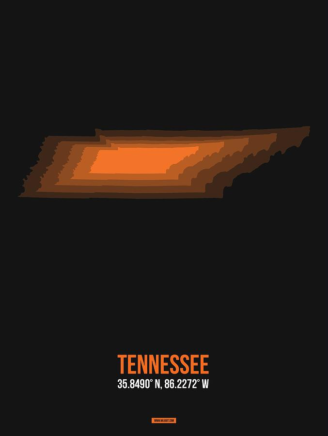 Tennessee Map Digital Art - Map Of Tennessee 2 by Naxart Studio
