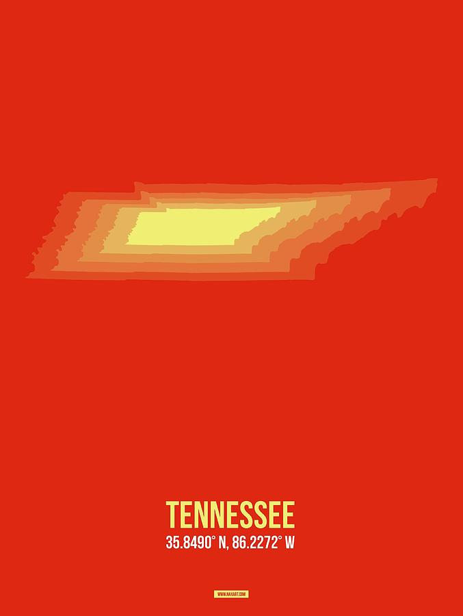 Tennessee Map Digital Art - Map Of Tennessee 4 by Naxart Studio