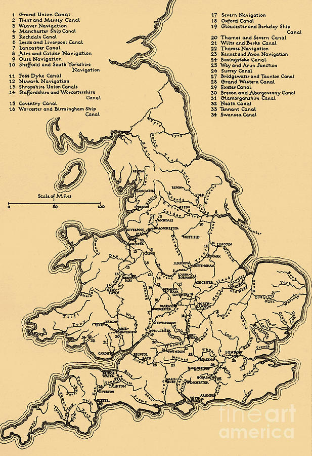 Map Of England Rivers And Canals.Map Of The Main Rivers And Canals In England Drawing By English