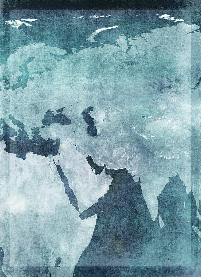 Map Of The Middle East And Eurasia Digital Art by Doug Armand