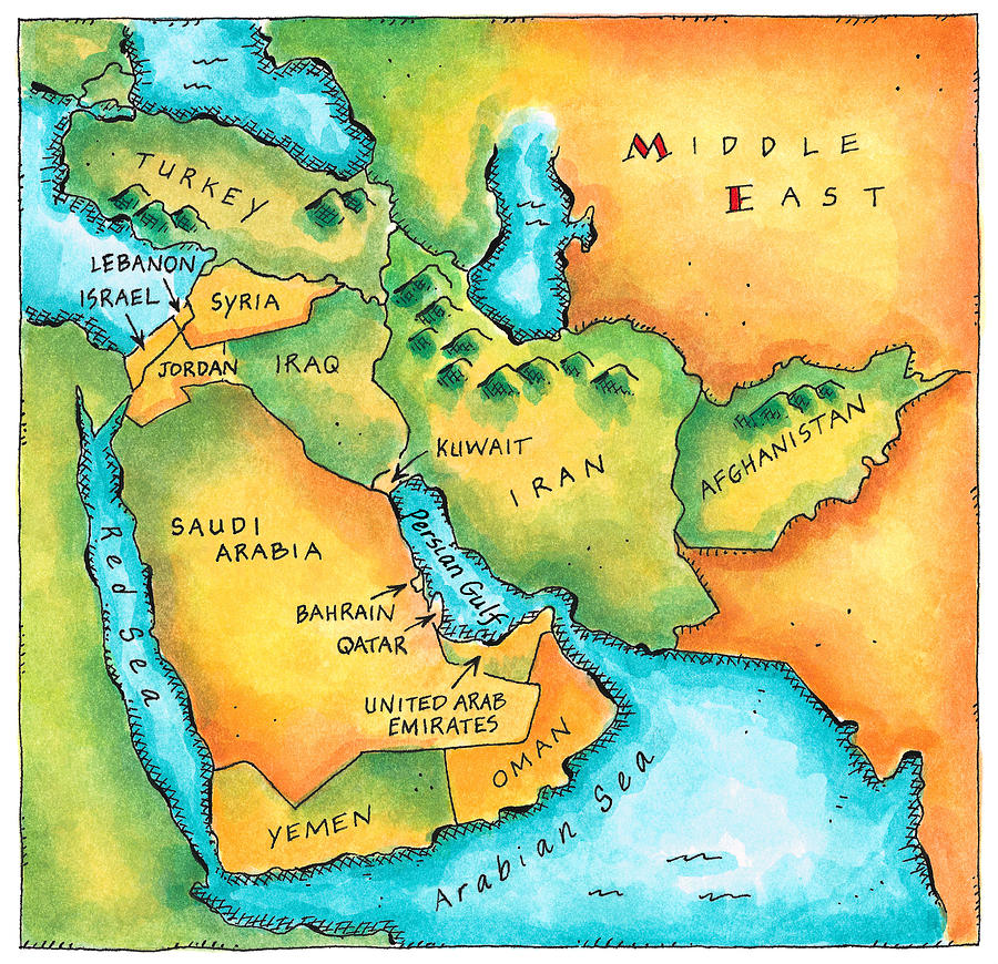 Watercolor Painting Digital Art - Map Of The Middle East by Jennifer Thermes