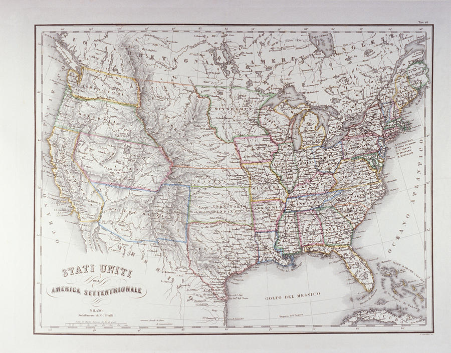 Map Of The Northen United States Digital Art by Fototeca Gilardi