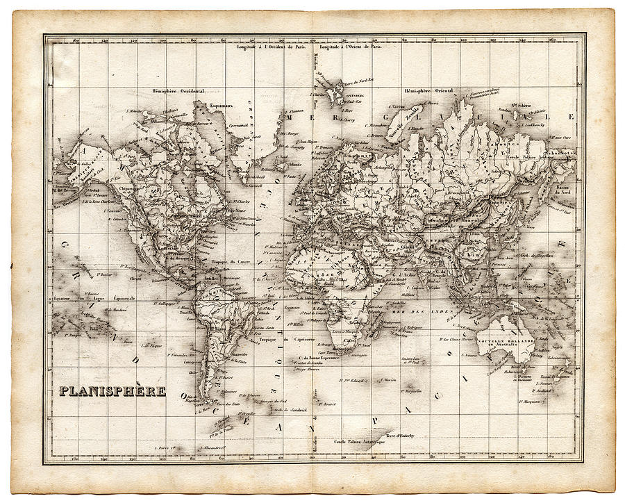 Map Of The World 1842 Digital Art by Thepalmer